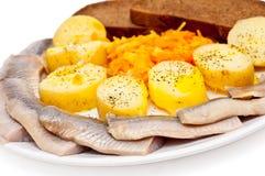 Vissen en aardappels Royalty-vrije Stock Foto's