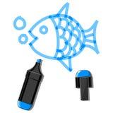 Vissen en blauwe teller Stock Afbeeldingen