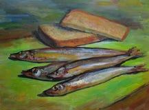 Vissen en brood Stock Afbeelding