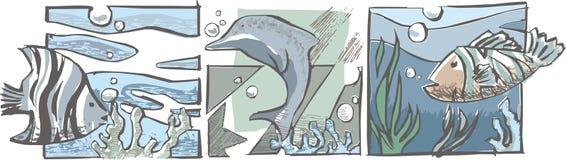 Vissen en delfin Vector Illustratie