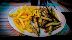 Vissen en gebraden gerechten royalty-vrije stock foto's