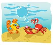 Vissen en Krab royalty-vrije illustratie