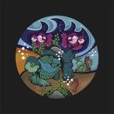 Vissen en mariene dierenvector en illustratie stock illustratie