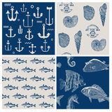 Vissen en Marine Background Set Royalty-vrije Stock Foto's