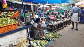 Vissen en plantaardige markt Stock Afbeelding