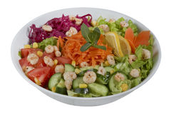 Vissen en plantaardige salade op een witte achtergrond Royalty-vrije Stock Foto's