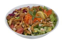 Vissen en plantaardige salade op een witte achtergrond Royalty-vrije Stock Afbeeldingen