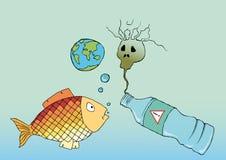 Vissen en plastic fles, verontreiniging van de oceaan stock afbeeldingen
