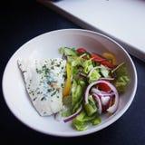 Vissen en salade Royalty-vrije Stock Foto