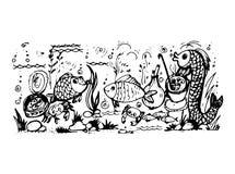 Vissen en visschotels vector illustratie