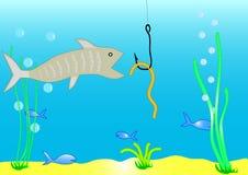 Vissen en worm Stock Afbeeldingen