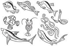 vissen en Zeevruchten Royalty-vrije Stock Foto's