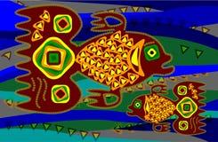 Vissen in etnische stijl Royalty-vrije Stock Afbeelding