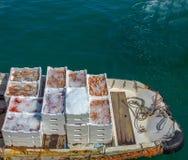 Vissen, garnalen, scampi en pijlinktvis op de boot dichtbij de vissenmarkt die worden getoond royalty-vrije stock afbeelding
