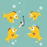 Vissen geinteresseerd om wormaas te eten - de concurrentie bedrijfsconcept Royalty-vrije Stock Afbeeldingen