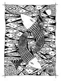 Vissen in het overzees. Grafische tekening Royalty-vrije Stock Foto