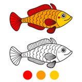 Vissen Kleurende boekpagina De vectorillustratie van het beeldverhaal Royalty-vrije Stock Fotografie