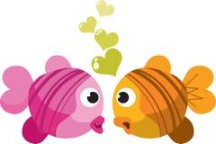 Vissen in liefde Stock Foto's