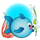 Vissen, luchtbellen en anemoon - de illustratie van Jonge geitjes Stock Foto