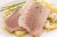 Vissen met aardappel stock foto's