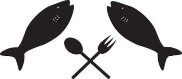 Vissen met een lepel en een vork Royalty-vrije Stock Fotografie
