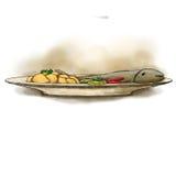 Vissen met gekookte aardappels Stock Fotografie
