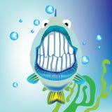 Vissen met grijns in water Royalty-vrije Stock Fotografie