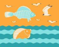 Vissen met zeemeeuwen bij de zonsondergang vector illustratie