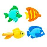 Vissen modelleringsklei op een Witte Achtergrond Stock Fotografie
