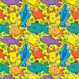 Vissen Naadloze Pattern_eps Stock Afbeelding