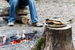 Vissen op brand worden gekookt die Stock Afbeeldingen