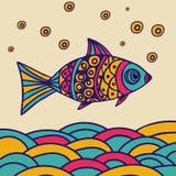 Vissen op de overzeese golven in krabbelstijl Stock Afbeelding