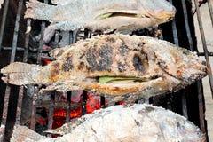 Vissen op een houtskoolgrill Stock Afbeeldingen
