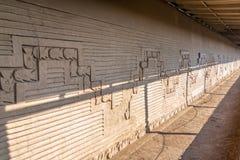 Vissen op een Muur in Chan Chan in Peru royalty-vrije stock afbeelding