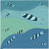 Vissen overzees vectorpatroon royalty-vrije illustratie