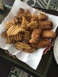 Vissen & spaanders stock foto's