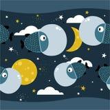 Vissen, sterren, maan, kleurrijk naadloos patroon Decoratieve leuke achtergrond, kosmische ruimte royalty-vrije illustratie