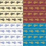 Vissen van het krabbel de naadloze patroon Royalty-vrije Stock Fotografie