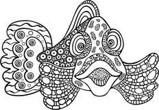 Vissen in volledig gezicht, lijntekening stock foto's