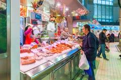 Vissenbanket bij centrale markt Valencia Spain Royalty-vrije Stock Foto