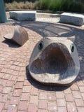 Vissenbeeldhouwwerk met open mond Royalty-vrije Stock Foto