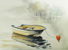 Vissend bowat geschilderde waterverf Stock Foto's
