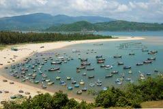 Vissend dorp, Phu-Yen, het zeegezicht van Vietnam, Vietnam Stock Afbeelding