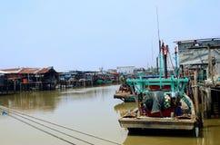 Vissend Dorp, Sekinchan Stock Foto