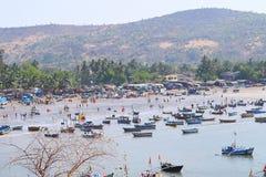 Vissend Haven in Harnai, Dapoli, India - Haven, Strand, en Heuveltje Royalty-vrije Stock Foto's