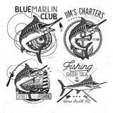 Vissend vectorembleem Blauw Marlijn of Zwaardvissenpictogram Stock Fotografie