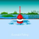 Vissend vlotter en landschap als achtergrond Stock Foto