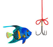 Vissende haak en vissen Stock Foto's