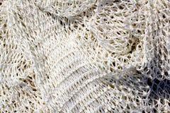 Vissende nieuwe witte netto textuurclose-up Stock Afbeeldingen