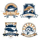 Vissende sport en vissers geplaatste club vectorpictogrammen Royalty-vrije Stock Foto